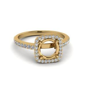 0.90 Ct. Diamond Square Halo Semi Mount Engagement Ring In 14K Yellow Gold