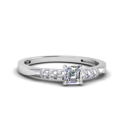 Simple Channel Bar Set Diamond Ring