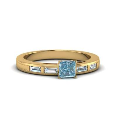 Baguette Blue Aquamarine Bar Setting Ring