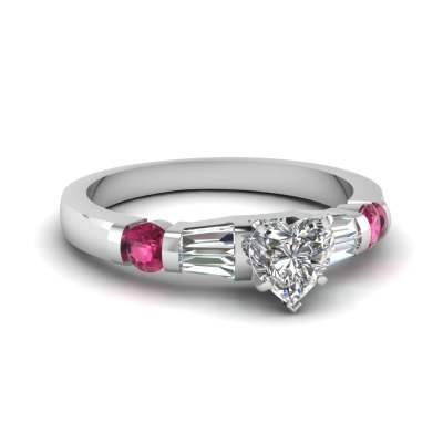 Bar Accent 1.25 Ct. Heart Diamond Ring