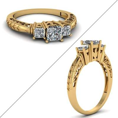 Filigree Basket Prong Diamond Ring