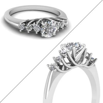Floating Prong Round 7 Diamond Ring