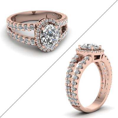 French Prong Halo Diamond Ring