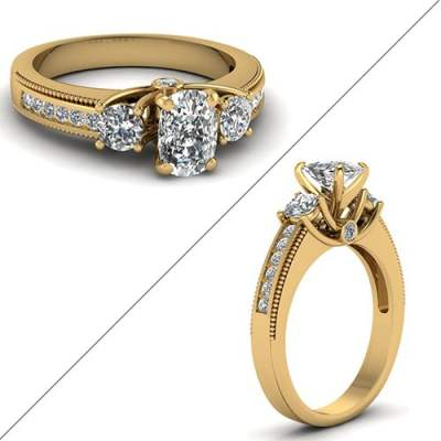 U Prong Milgrain Diamond Ring