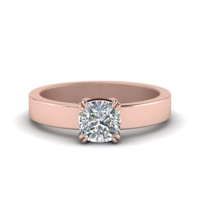 Flat Solitaire Double Prong Ring