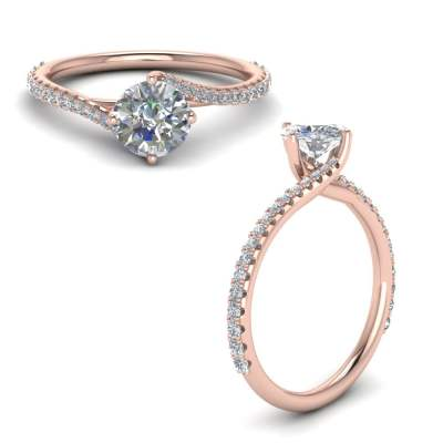 Petite Swirl U Prong Diamond Ring