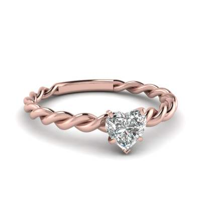 5 Prong Heart Diamond Twisted Ring
