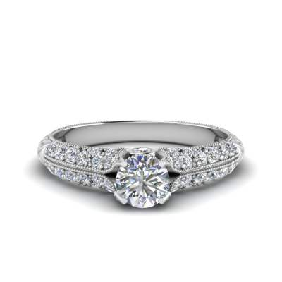 Thick Band Intricate Diamond Ring