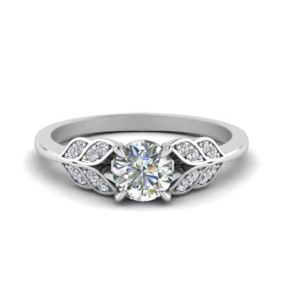 Leaf Style Pave Diamond Ring