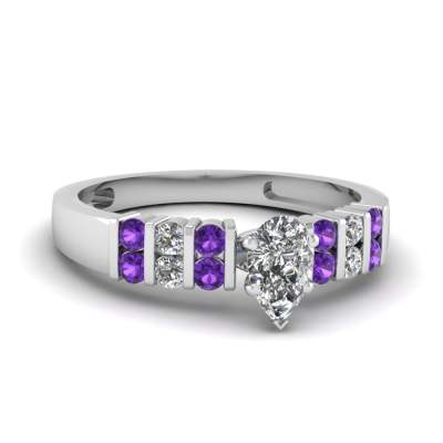 2 Row Bar Setting Purple Topaz Ring