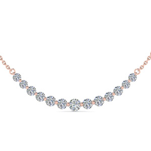 1 Carat 13 Round Diamond Graduated Necklace In 14K Rose Gold