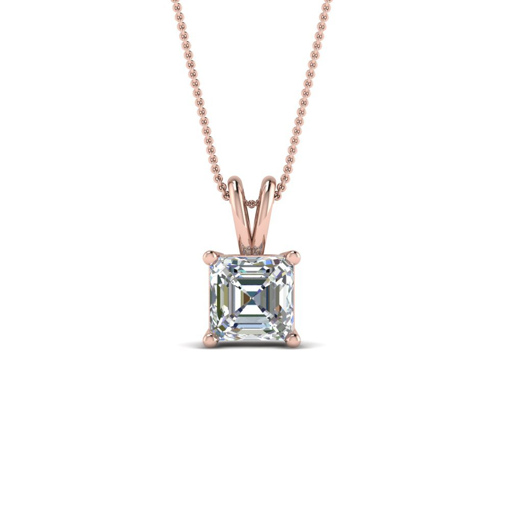 1 Ct. Asscher Single Diamond Pendant