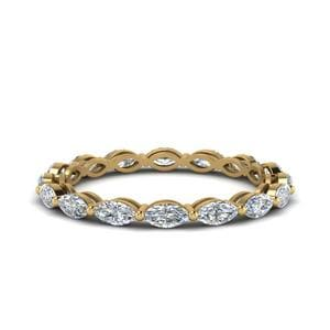 0.80 Carat Marquise Diamond Eternity Ring In 14K Yellow Gold