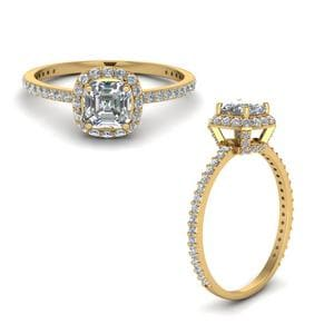 1 Carat Asscher Diamond Crown Halo Engagement Ring In 14K Yellow Gold