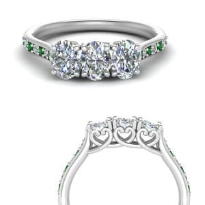 Cathedral Emerald Wedding Band