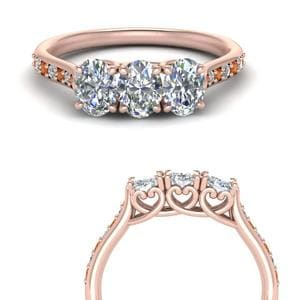 Petite Orange Sapphire Wedding Band