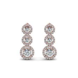 1 Carat Diamond Halo Triple Drop Earring In 14K Rose Gold