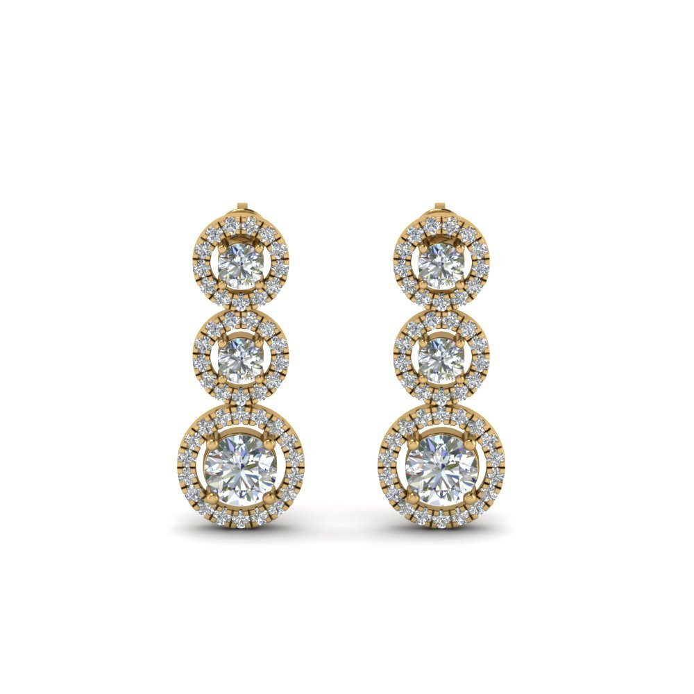 Diamond Halo Triple Drop Earring