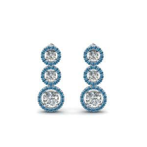 Platinum Blue Topaz Halo Triple Drop Earring