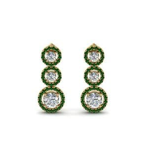 1 Carat Emerald Halo Triple Drop Earring