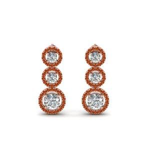 18K Rose Gold Orange Sapphire Earring