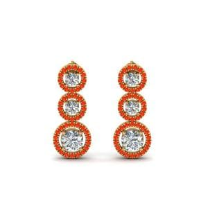 1 Carat Diamond Halo Triple Drop Earring With Orange Topaz In 14K Yellow Gold