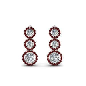 Ruby Halo Triple Drop Earring