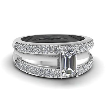 emerald cut micropave 1 ct. ring