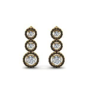 Black Diamond Halo Drop Earring