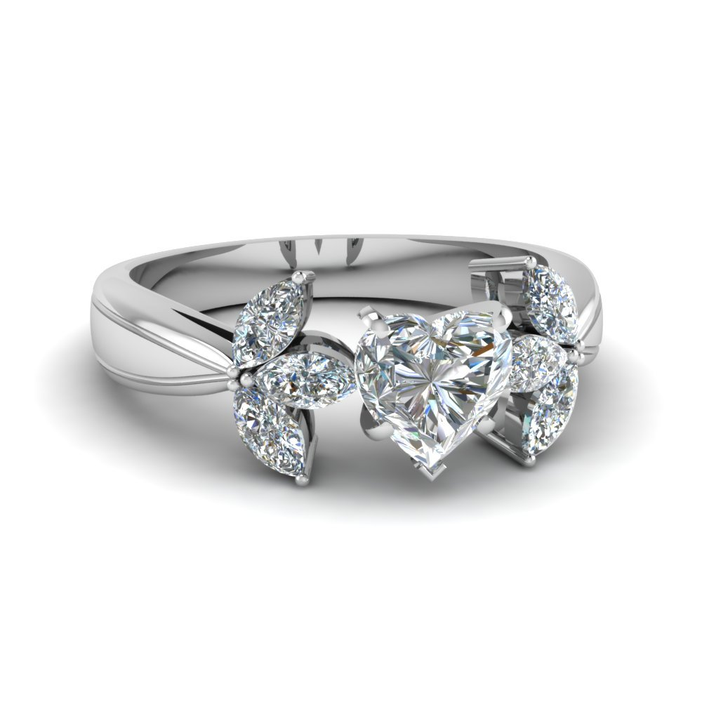 1 Carat Heart Diamond Flower Engagement Ring
