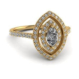 1 Carat Marquise Diamond Petite Halo Engagement Ring In 14K Yellow Gold