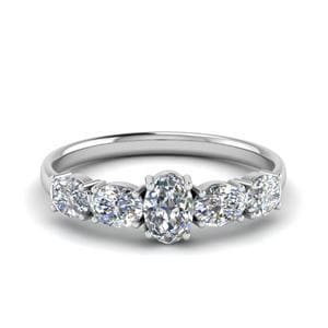 1 Ct. Oval 5 Stone Wedding Ring