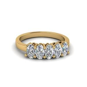 1 Carat Oval Shaped Diamond 5 Stone Wedding Ring In 14K Yellow Gold