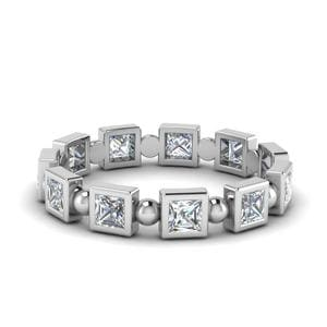 1 Carat Princess Cut Bead Eternity Band