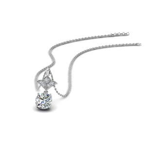 1 Carat Round Art Deco Inspired Pendant In 14K White Gold
