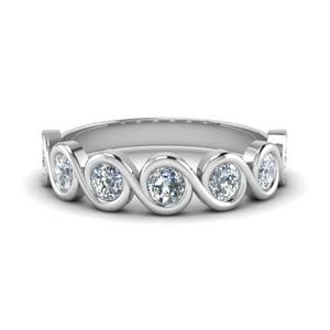 1 Carat Round Diamond Bezel Set Swirl Band