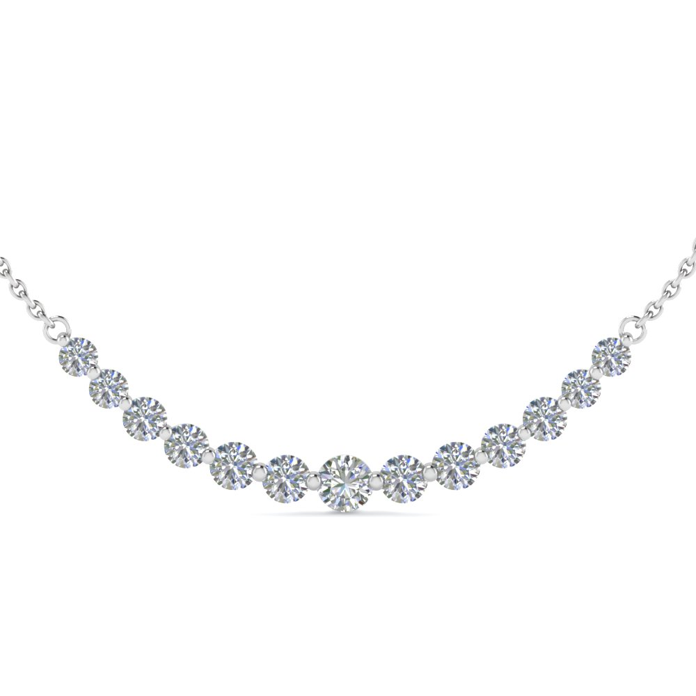 1 Carat Round Graduated Diamond Necklace
