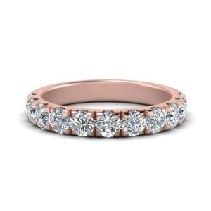 1 Carat Scalloped Diamond Wedding Band In 14K Rose Gold