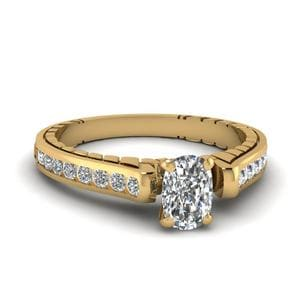 1 Ct. Cushion Diamond Cathedral Channel Set Engagement Ring In 14K Yellow Gold