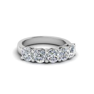 14K White Gold Round cut Band