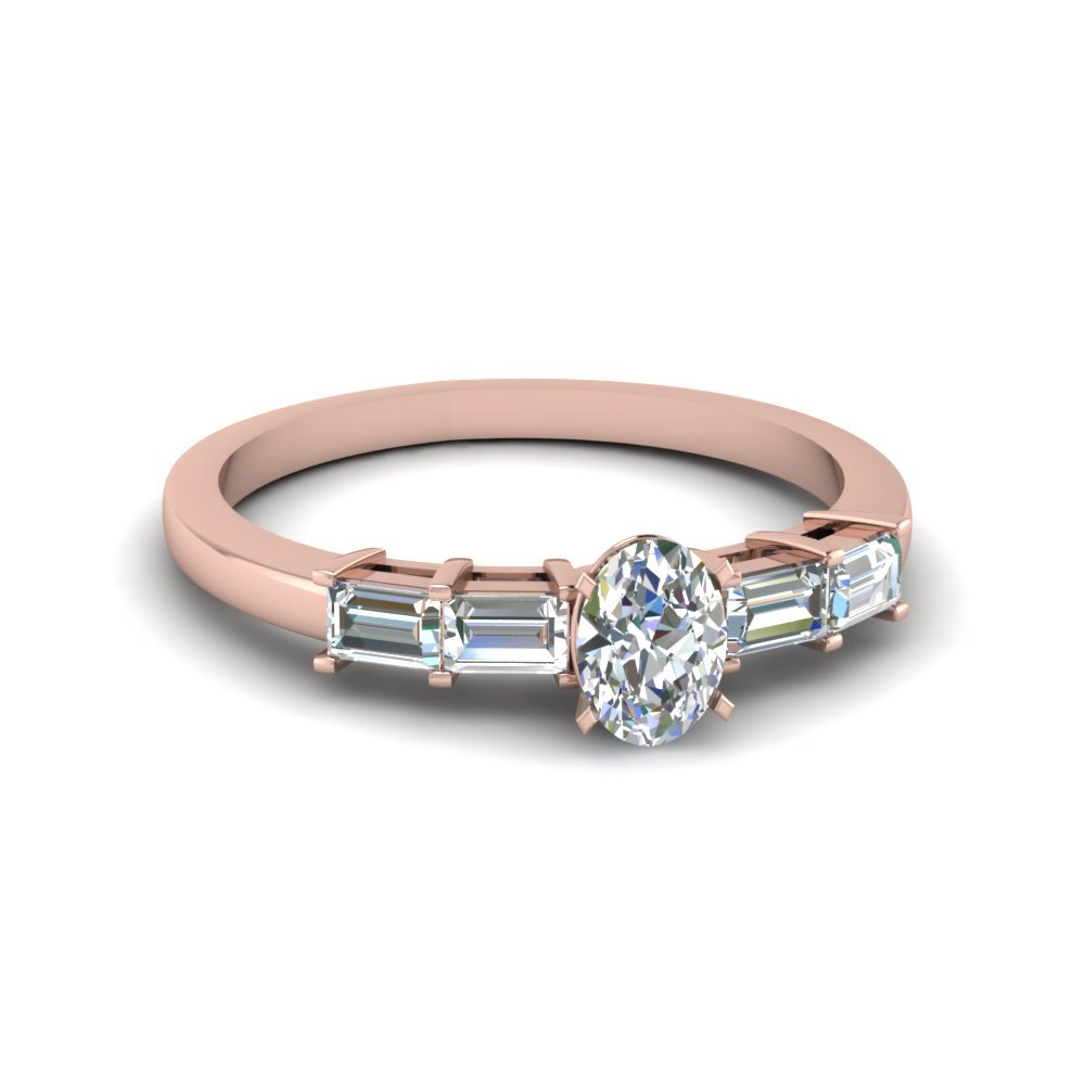 1 Ct. Diamond Basket Baguette Oval Shaped Engagement Ring In 14K Rose Gold