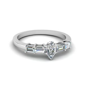 1 Ct. Platinum Pear Shaped Ring