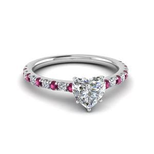 1 Ct. Diamond Beautiful Heart Mom Ring With Pink Sapphire In 14K White Gold