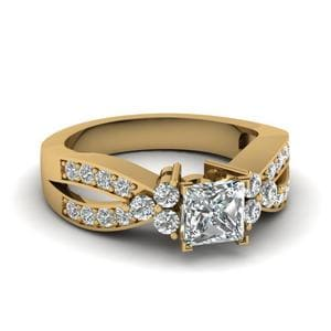 1 Ct. Diamond Cluster Accent Princess Cut Engagement Ring In 18K Yellow Gold