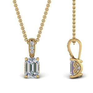 1 Ct. Emerald Cut Filigree Prong Pendant