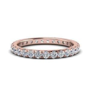1 Ct. Diamond Eternity U Prong Wedding Band 2Mm In 14K Rose Gold