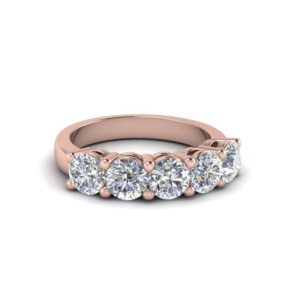 14K Rose Gold Five Stone Wedding Band