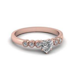 Petite Bezel Set Heart Diamond Ring