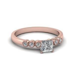 1 Ct. Diamond Petite Bezel Set Princess Cut Engagement Ring In 18K Rose Gold