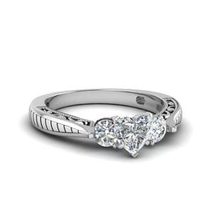 1 Ct. Diamond Vintage Heart Shaped 3 Stone Engagement Ring In 14K White Gold